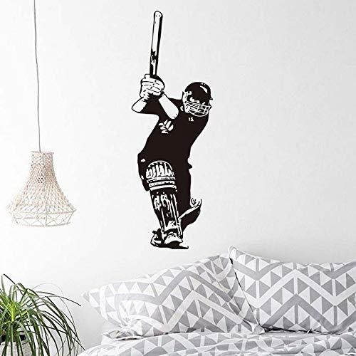 jiushizq Lustige Sport Cricket Batsman Kinder Schlafzimmer Dekorative Wandaufkleber PVC Abnehmbare Selbstklebende Porträt Wandbild 3D Muster Rosa 56 cm X 164 cm -