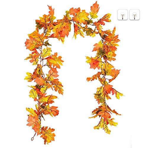 YQing hojas de arce caída guirnalda decoración  ¡Sumérgete en el espíritu del otoño! Nada dice bastante. Cae como hojas cambiando de color y cayendo de los árboles. ¿Qué mejor manera de capturar la temporada de otoño que con una colorida guirnalda de...