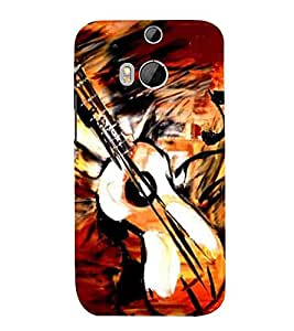 For HTC One M8 :: HTC M8 :: HTC One M8 Eye :: HTC One M8 Dual Sim :: HTC One M8s guitar paint ( guitar paint, guitar, painting, music ) Printed Designer Back Case Cover By CHAPLOOS