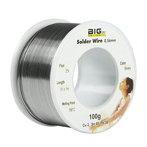 BIGtec Lötzinn Lötdraht Löten Lot Löt-Zinn Flussmittel Draht Lötmittel Weichlot Lötung 100g Durchmesser 0,56mm auf Rolle/Spule