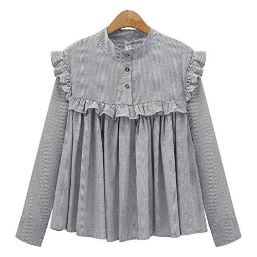 Haroty Las Mujeres Camisa de Manga Larga con Rayas Blusas Suelto Ocasionales Cuello Mao Sólido Color Talla Grande con Volantes Plisada (4XL, Gris)