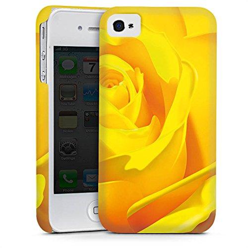 Apple iPhone 4 Housse Étui Silicone Coque Protection Rose Fleur Jaune Cas Premium mat