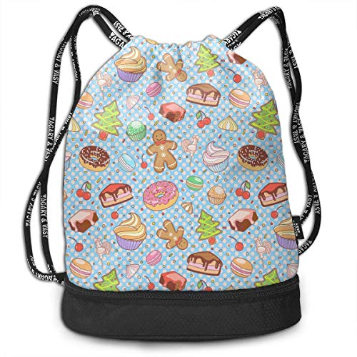 Voxpkrs Sweet Gingerbread Cake Donut Chocolate Unisex Waterproof Drawstring Backpack Rucksack Yoga Dance Travel Shoulder Bags (Donut Cake Chocolate)