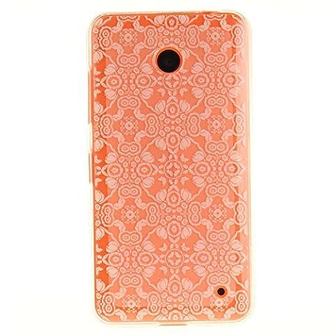 """Nokia Lumia 630 Hülle, SsHhUu Kratzfeste Clear Durchsichtig Ultra Slim TPU Schutzhülle Bumper Tasche Cover Case für Nokia Lumia 630 / N630 (4.5"""") - Weiße Spitze Blume"""