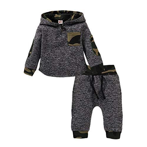 Cuteelf Baby Langarm Camouflage Hoodie Pullover Top + Hose Zweiteiler Baby Kleinkind Baby Boy Girl Pullover Top Hose Set Bequeme warme Langarm Pullover