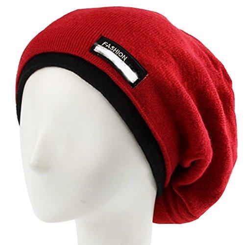 lohome® Winter Warm Hat, Unisex/Beanie/Skimütze Knit Crochet Ski Hat Oversized Cap Hat Warm Schal, rot Crochet Skull Cap Hat