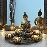 Buddha Dekoteller bronze mit Teelichthaltern und Deko-Steinen