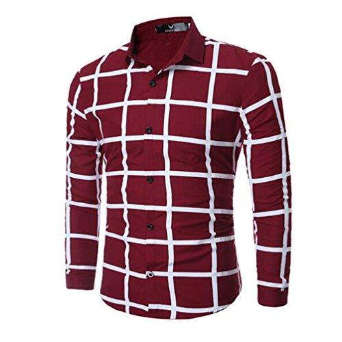 Herren Hemd geometrische Muster Shirt unregelmäßiges Muster T-Shirt, Weinrot, XXXL (1860 Kostüm Kleider)