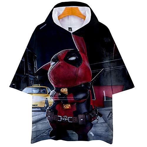 T-Shirts,Unisex Pikachu Anime Thema Jugend Hoodie Dünn Lässig Anhänger Paar Kurzarm T-Shirt Top, Big Detective, XL -