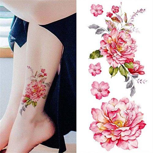 1-pc-tatouages-ephemeres-tattoos-temporaires-impermeables-pivoine-aquarelle-diy-dessin