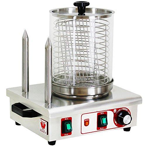 """Beeketal """"BHG06c"""" Profi Gastro Hot Dog Maker mit 2 Heizspießen und 170 mm Korbdurchmesser, Edelstahl Hot Dog Maschine zum erhitzen von Würsten und aufwärmen von Hot Dog Brötchen, schwere Edelstahl Ausführung mit Tragegriffen"""