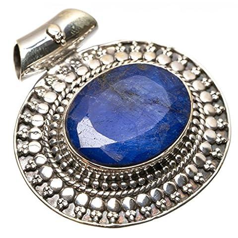 stargems (TM) Natürliche Saphir Boho Stil Vintage 925Sterling Silber Anhänger
