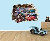 Disney Cars Lightning McQueen 3D Effekt zerstörten Loch in Wand Vinyl Aufkleber–geeignet für Kinder Schlafzimmer Wände, Türen und Fenstern., plastik, Extra Large 80 x 58cm