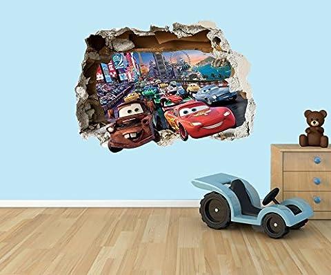 Disney Cars Lightning McQueen 3D Effekt zerstörten Loch in Wand Vinyl Aufkleber–geeignet für Kinder Schlafzimmer Wände, Türen und Fenstern., plastik, Extra Large 80 x