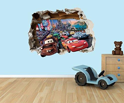Disney Cars Lightning McQueen 3D Effekt zerstörten Loch in Wand Vinyl Aufkleber–geeignet für Kinder Schlafzimmer Wände, Türen und Fenstern., plastik, Medium 40 x 29 cm