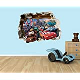 Disney Cars Lightning McQueen 3D effect smashed hole in wall vinyl sticker - suitable for Kids Bedroom walls, doors and glass windows. (Large 58 x 42 cm) by PPS