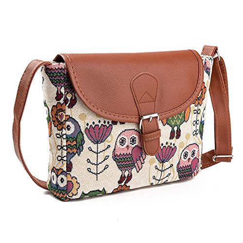 cef5a6f335e9 Damen Umhängetaschen Eule Druck Schultertaschen Damenhandtaschen Freizeit Handtasche  Taschen Mit Verstellbarer Schultergurt (Eule B)