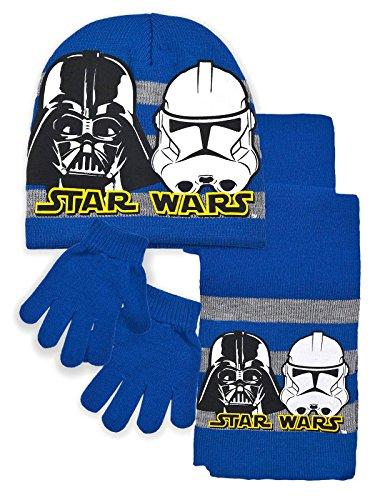 Star Wars - Set Invernelale 3 pz Cappello Sciarpa e Guanti - Dart Wader Stormtroopers - Bambino - Prodotto Originale con Licenza Ufficiale 4624HP [Blu - 52