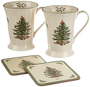 Genuine Spode Christmas Tree Mug and Coaster Set, Set of 2