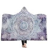 Schwarz mit Kapuze Decke, Winter warme Vlies böhmische Art Sherpa Decke Erwachsene Decken mit Hoodie Decke für Couch Sofa oder Bett