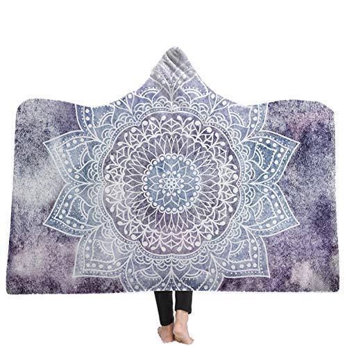 Mandala Hoodie Blanket Fleece Bohemia TV-Spiel Handy Flauschige Decke Teppich Handtuch Umhang für Kinder und Erwachsene (Decke Handys)