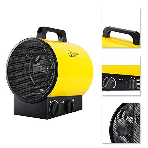 Industrieller Elektrischer Heizlüfter 3000w Luftwärmer mit Thermostat Stille Wasserdichte 3 Geschwindigkeit für Gewächshaus Werkstatt Garage Gelb