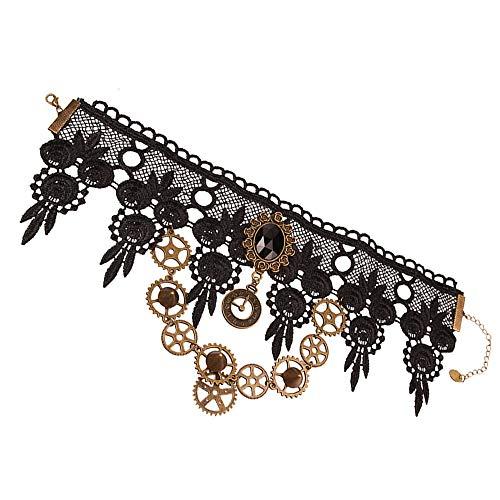 Eizur Spitze Kragen Halskette, Steampunk Retro Zahnrad Anhänger Choker Kleidung Zubehör für Hochzeit Geburtstag Owen Weihnachten Custume