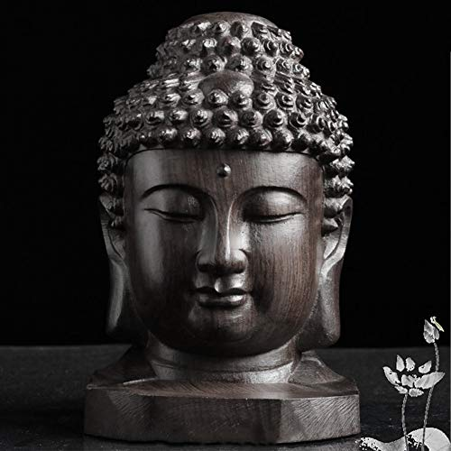 Figur Sammelobjekt Statue, Sakyamuni, Tathagata Buddha Kopf Desktop Mahagoni Schnitzerei Holz Handwerk Deko Geschenk Heimdekoration Mini Handgefertigt Show, Free Size