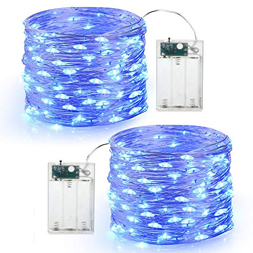BrizLabs 2 x 60er Micro LED Lichterkette Batterie betrieb 6M Kupferdraht Sterne Lichterketten Innen Batteriebetrieben Beleuchtung für Zimmer Innen Party Garten Weihnachten Hochzeit DIY Deko, Blau