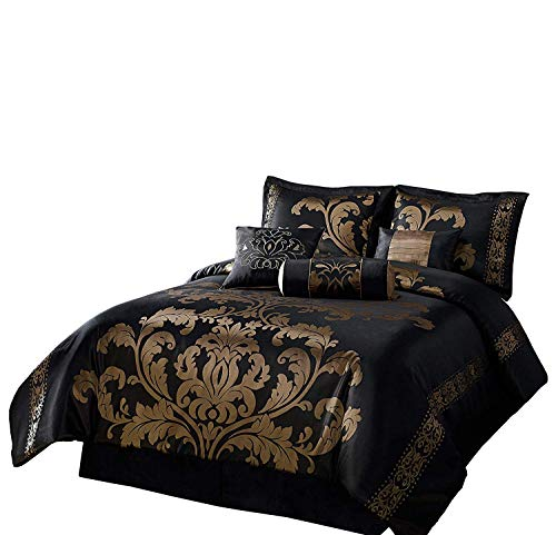 Chezmoi Collection 7-teilig Jacquard Floral Tröster Set Bed-in-a-Bag, California King, schwarz/Gold -