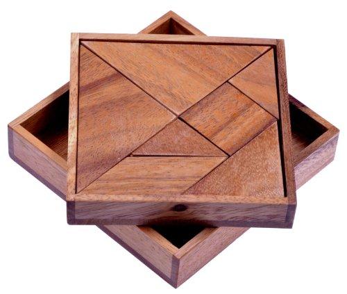 Tangram 'Quadrat' - Legespiel - Denkspiel - Knobelspiel - Geduldspiel - Logikspiel aus Holz -