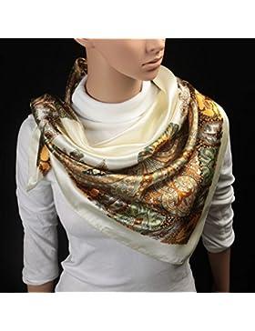 La moda femenina impreso mantón bufanda cuadrada Satin-Silk envolver 35
