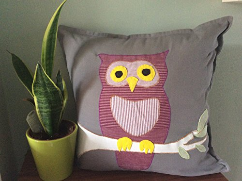 Owl applique cushion grey woodland creatures rspb countryside nature