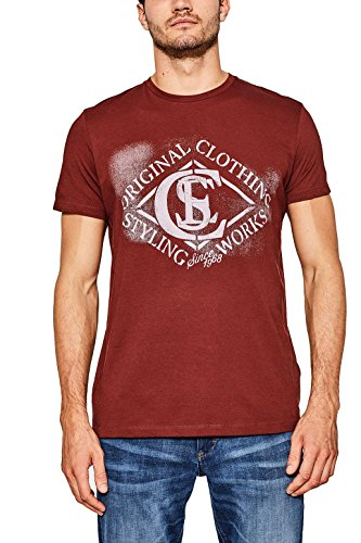 ESPRIT Herren T-Shirt 087ee2k005 Rot (Bordeaux Red 600)