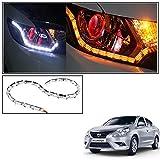 #6: Vheelocityin Custom Car Crysal DRL Daytime Running Light with Orange Audi Style moving Indicators For Nissan Sunny