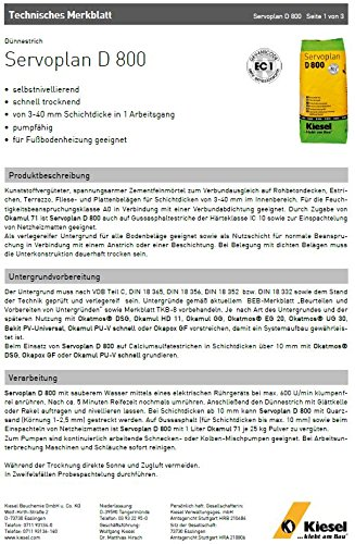 """Servoplan D 800"" Dünnestrich, 3-40 mm Schichtdicke, spannungsarmer Zementfeinmörtel, grau (1 Sack 25 kg)"