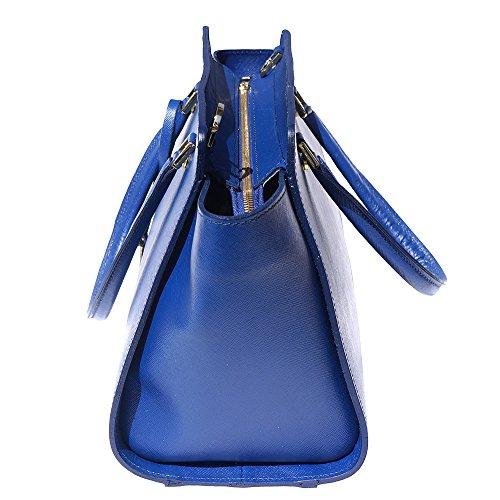 Borsa a mano in pelle Saffiano 8060 Blu elettrico