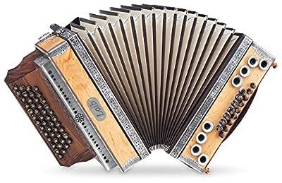 Loib Harmonika IVD Erle G-C-F-B (46 Disantknöpfe, 9 Bässe, 7 Harmonien, Erle Massiv, Nuss Massiv, inkl. Koffer)