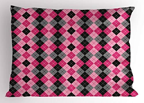 90 Lutschtabletten (ABAKUHAUS rosa-Grau Kissenbezug, Diamanten und Lutschtabletten, Dekorativer Standard King Size Gedruckter Kissenbezug, 90 x 50 cm, Baby Pink Schwarz Grau)