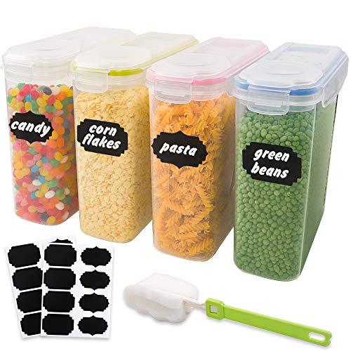BAKHK 4 Vorratsdosen Set Frischhaltedosen 4L Kunststoff Vorratsbehälter Aufbewahrungsdose mit Aufklebern und Bürste für Getreide, Mehl, Zucker usw. 4 Liter Set