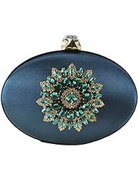 Qzunique Women'S Vintage Elegant Rhinestone Purse Luxury Evening Clutch Bag Handbag