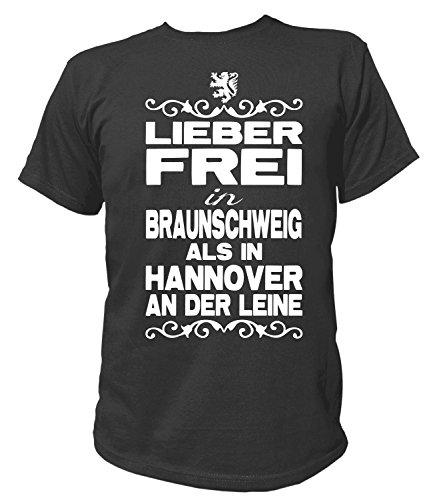 Artdiktat Herren T-Shirt - Lieber Frei in Braunschweig Als in Hannover An der Leine - Funshirt Humor Fun Spaß Kult Funny Spruch Größe S, Schwarz