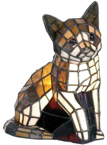 Lumilamp 5LL-776 Dekolampe Figurleuchte im Tiffany-Stil Katze 24x20 cm dekoratives buntglas handgefertigt glasschirm