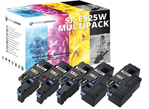 5 SCHNEIDER HOCHLEISTUNGS Toner nach (ISO-Norm 19798) kompatibel zu Dell E525w 2.400 Seiten Schwarz, 1.650 Seiten Cyan Gelb Magenta -
