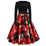 Kleid Kolylong Damen Elegant Weihnachtsbaum Drucken Swing Kleider Vintage Langarm Weihnachtskleid Rockabilly Festlich Kleid Knielang Ballkleid Cocktails Party Abendkleid (Rot, L)