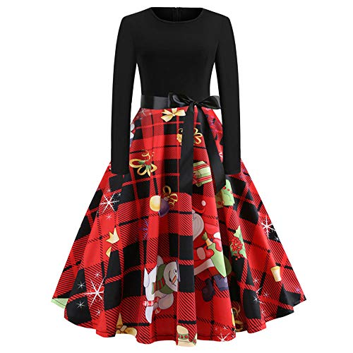 OverDose Damen Frohe Weihnachten Stil Frauen Vintage Print Langarm Weihnachten Abend Party Cosplay Elegante Slim Swing Kleid Geschenk (EU-38/CN-XL, ()