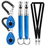Pveath Klicker 2er-Pack Hundetraining Hundeerziehung Klicker mit Handgelenk Band,Klicker für Hunde, Training Klicker, Puppy Training Clickers mit Handgelenkband Clicker (Blue)