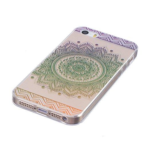iphone 5 / 5s / SE Hülle, E-Lush TPU Soft Silikon Tasche Transparent Schale Clear Klar Hanytasche für iphone 5 / 5s / SE Durchsichtig Rückschale Ultra Slim Thin Dünne Schutzhülle Weiche Flexibel Handy Grünes Mandala