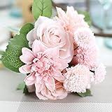 Mitlfuny Unechte Blumen, Blatt Rose mit Blumen Gefälschte Blumen Seidenrosen Plastik Köpfe Braut Hochzeitsblumenstrauß für Haus Garten Pfingstrose Floral künstliche Seide Künstliche Flanell Blume Brautstrauß Hochzeitsfeier Home Decor (Rosa)
