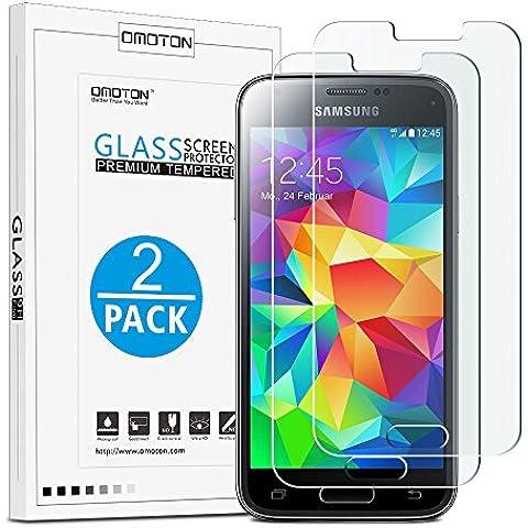 OMOTON [2pack]Cristal Templado Galaxy S5 Mini Protector de Pantalla Vidrio Templado Para Samsung Galaxy S5 MINI [2.5d Borde redondo]con[9H Dureza][Alta Definicion][Garantía de por